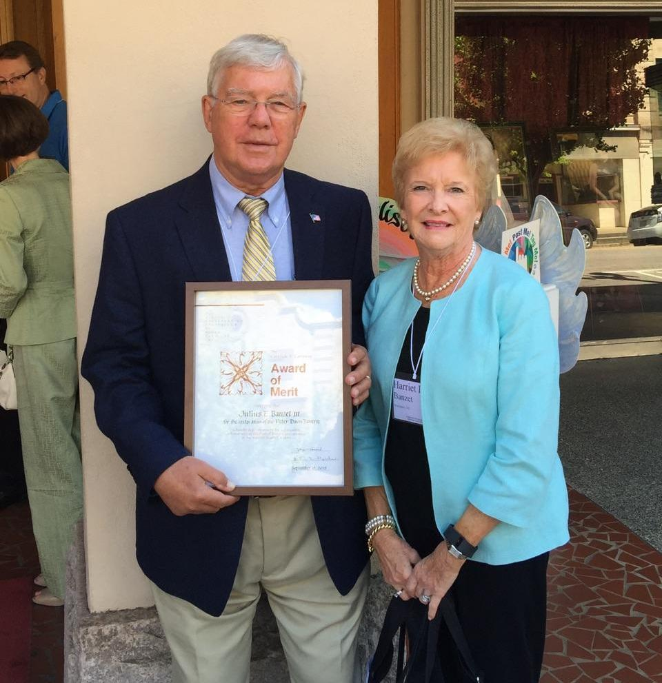 Jules Banzet is pictured with his wife, Harriet, after receiving the 2015 Gertrude S. Carraway Award of Merit in recognition of his historic preservation work.
